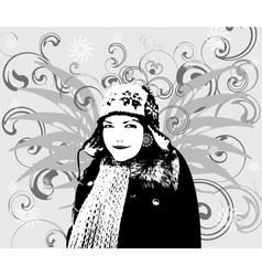 Girl Winter background vector image