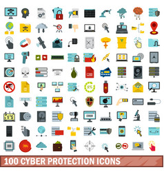 100 cyber protection icons set flat style vector