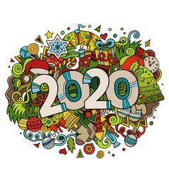 2020 hand drawn doodles new year vector