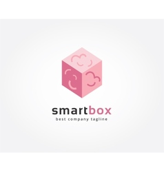 Abstract brain box logo icon concept Logotype vector image