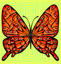 Abstract color image of the large red butterfly vector