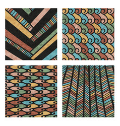 Abstract colored hand drawn doodle patterns vector
