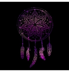 Abstract glowing dreamcatcher in blue and pink vector