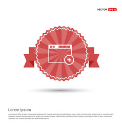 Add widget icon - red ribbon banner vector