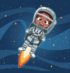 Astronaut girl flying on space vector