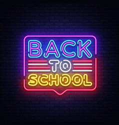 back to school greeting card design template neon vector image