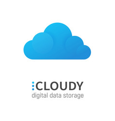 blue cloud isolated data storage logotype vector image