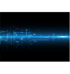 blue light sound wave and circuit vector image