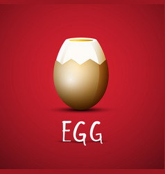Boiled egg with eggshell on red background design vector