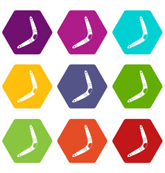 boomerang icon set color hexahedron vector image