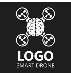 Brain icon logo badge drone vector