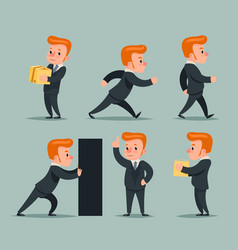 Businessman character different positions and vector