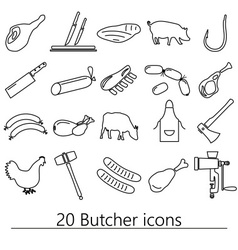 butcher and meat shop black outline icons set vector image
