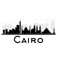Cairo city skyline black and white silhouette vector