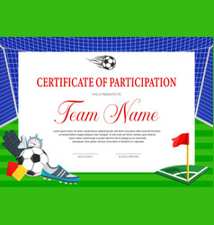 certificate for soccer tournament participation vector image