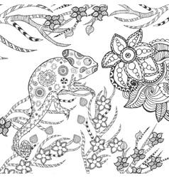 Chameleon in fantasy garden vector image