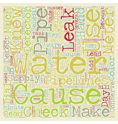 Check for leaks conserve water and save money text vector