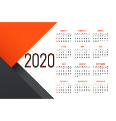 Clean 2020 new year calendar design with text vector