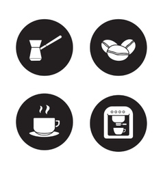 Coffee appliances black icons set vector image