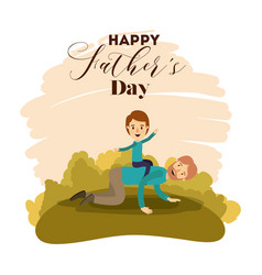 Colorful card of landscape with dad playing with vector