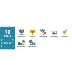 Community icon set include creative elements vector