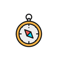 compass navigator flat color line icon vector image