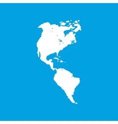 Continental Americas white icon vector image