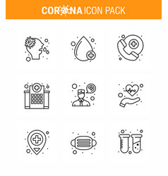 coronavirus prevention set icons 9 line icon vector image