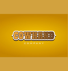Cowhand cow hand western style word text logo vector