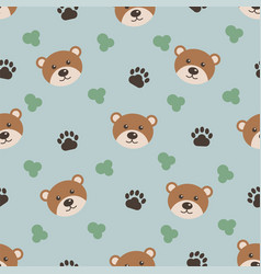 cute animals cartoon bear seamless pattern for vector image