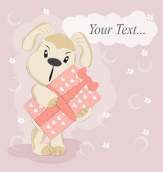 cute cartoon happy birthday dog with gift vector image