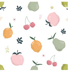 cute seamless pattern with fruits summer hand vector image