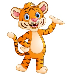 Cute tiger waving hand vector image