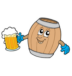 cute wooden keg holding beer vector image