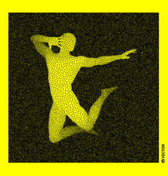Dancer 3d human body model black and yellow vector