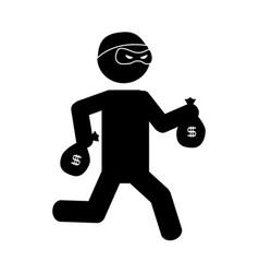 Danger bandit running with money bags vector