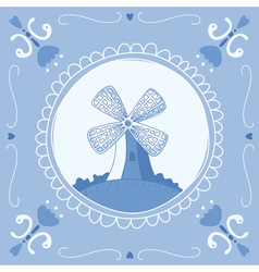 Delft Blue mill vector