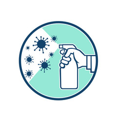 Disinfectant spray on coronavirus icon retro vector