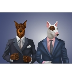 Doberman and bullterrier dressed up in office suit vector