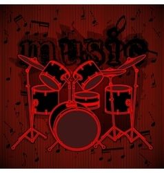 drum set on musical background vector image