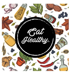 Eat healthy circle garnish background image vector