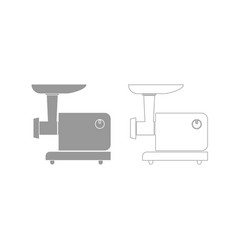 Electric meat mincer grey set icon vector