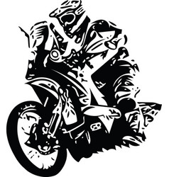 extreme abstract motocross racer by motorcycle vector image