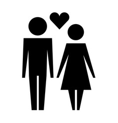 family couple with heart silhouette avatars vector image