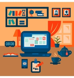 flat concept business workspace vector image