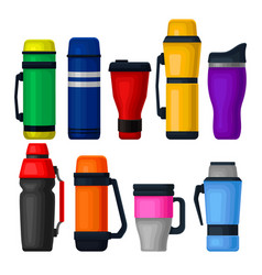 Flat set of colorful thermos and thermo vector