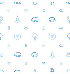 Forest icons pattern seamless white background vector
