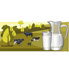 Fresh natural milk with cow vector