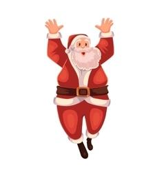 Full length portrait of Santa jumping in delight vector