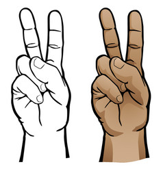 Hand peace sign vector